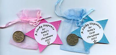 Lucky sixpence for a baby boy or girl first Christmas. 1st Keepsake, Gift,