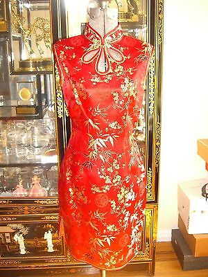 Red Chinese Cheongsam Silk Dress S