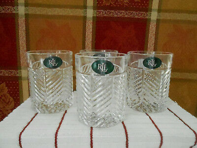 Ralph Lauren Herringbone Set of 4 Double Old Fashioned Glasses New