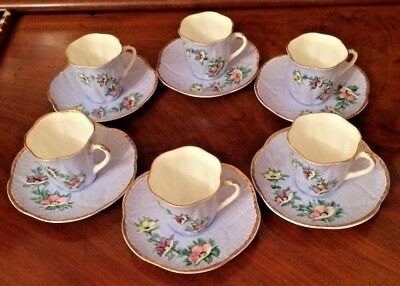 Shelley Dainty Pattern Set of 6 Tea Cups & Saucers Painted by E.Hobbs-Mills