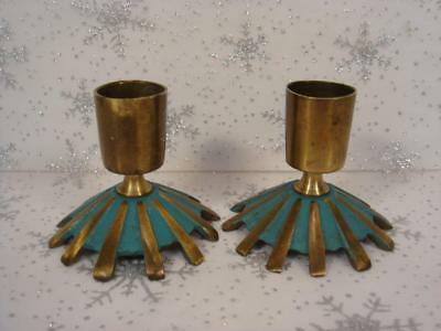 Lot Of 2 Vintage 1960's Terra Sancta Guild Brass Candlestick Candle Holders