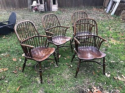 Four antique vintage Windsor chairs