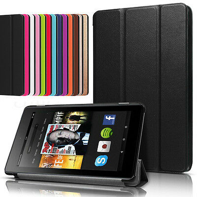 Magnetic Smart Leather Case Cover Stand For 2017 Amazon Kindle Alexa Fire 7 HD 8