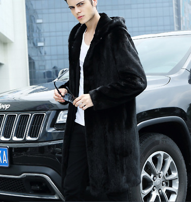 Men's Trench Coats Hoodies Long Faux Soft Fur Jacket Outwear Overcoat Black f023
