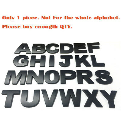 1PCS Matte Black Universal Letter Alphabet 3D Car Badge Sticker Decal Emblem