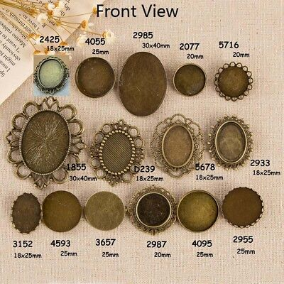 Antique Bronze Cabochon Setting for Brooch Pins, Base Tray Bezel 20 25 30 40mm