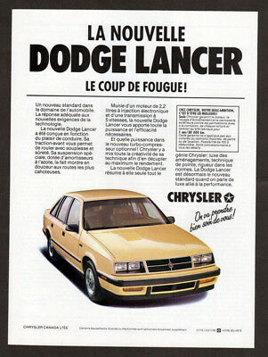 1985 DODGE Lancer Vintage Original Print AD - Yellow car photo french canadian