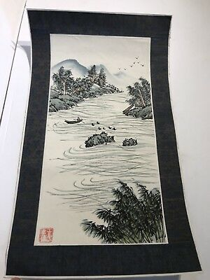 CHINESE WATERCOLOR SCROLL PAINTING Signed by Artist.