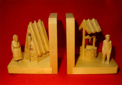 WOOD CARVED BOOKENDS SIGNED by ARTIST CARON from ST-JEAN-PORT-JOLI,QUEBEC CANADA