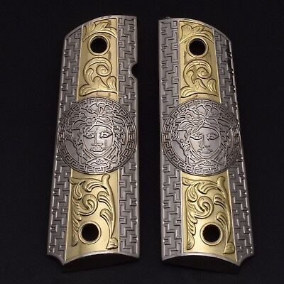 For 1911 Ruger SR1911 GRIPS 2 TONES 24K NICKEL Gold Free Screw