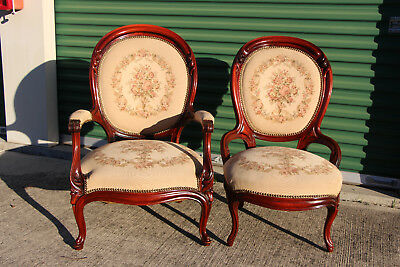 Gorgeous Pair of Large Walnut Victorian Lady and Gents Chairs w Rose Needlepoint