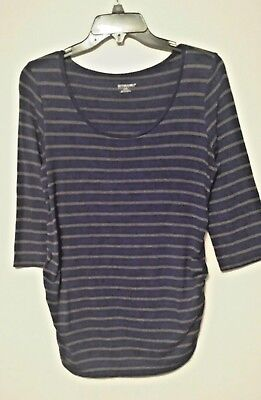fc1be39ac32a2 Motherhood Maternity M/Medium Blue with Gray Stripes Ruched Sides 3/4  Sleeves