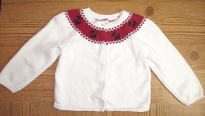 "Gymboree ""holiday Friends"" White Scotty Dog Toddler Girls Cardigan Sweater 3T"