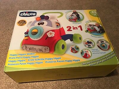 Chicco Happy Hippie First Steps Baby Walker Push Toy Activities Motor Skills NEW