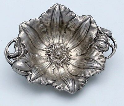 Reed & Barton Les Cinq Fleurs Sterling Nut Dish CLEMATIS