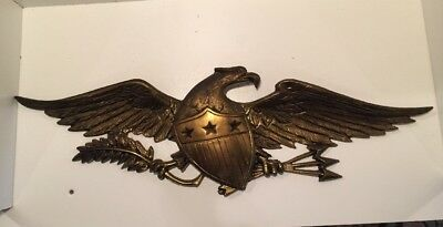 "Vtg Brass American Bald Eagle Wall Hanging Plaque 20"" Wing Span SHIELD  7338/20"