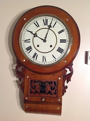 Antique American Inlaid 8 Day Walnut Wall Clock 99P Start No Reserve