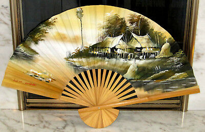 Large Vintage Hand Painted Wall Decor Fan Signed Artist Stamped 40x24 Thailand ?