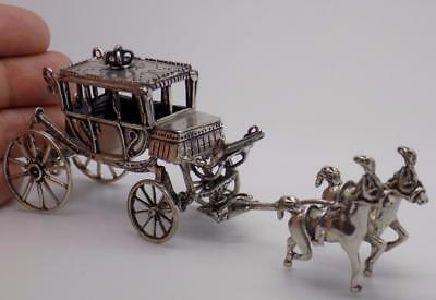 89g/3.13-oz. Vintage Solid Silver Italian Made Royal Carriage Miniature, Stamped