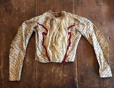 ANTIQUE VICTORIAN Floral Silk Brocade & Lace Dress Bodice waist Blouse