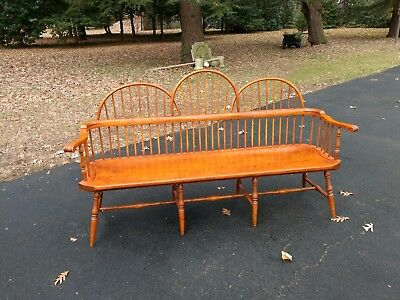 Tiger Maple Antique Style Windsor Bench
