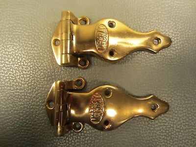 Antique Pair of Brass McCray Ice Box Hinges #464B