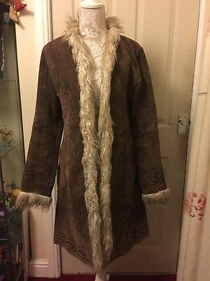 Vintage 1990s Real Suede Authentic Embroidered Afghan Coat Jacket M Hippy Boho