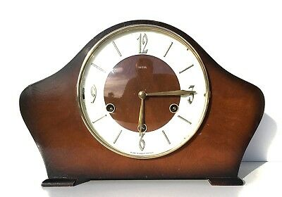 Smiths Walnut Quarter Chiming Mantle Clock