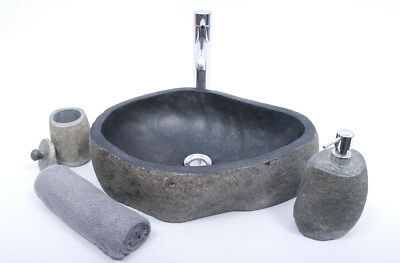 FREE SOAP HOLDER! Unique River Stone RSB2 H1 Washbasin Overtop Sink by InduStone