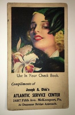 Dick's Atlantic service McKeesport Pa Pennsylvania pin up glamour girl Blotter