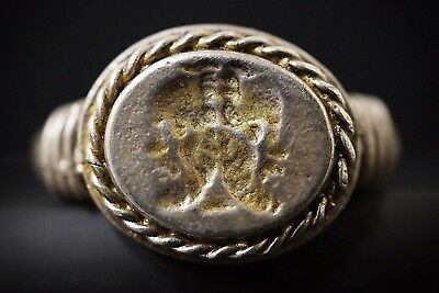 Ancient Roman Gold Gilded Seal Stamp Ring. Twofaced God Janus, circa 250-350 AD.