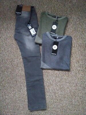 Boys Clothes Bundle, Grey Firetrap Jeans, Boohoo Tops, 9-10 Years, New With Tags