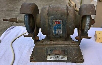 Vintage GMF 1950's Industrial Bench Grinder for collectors or can be used