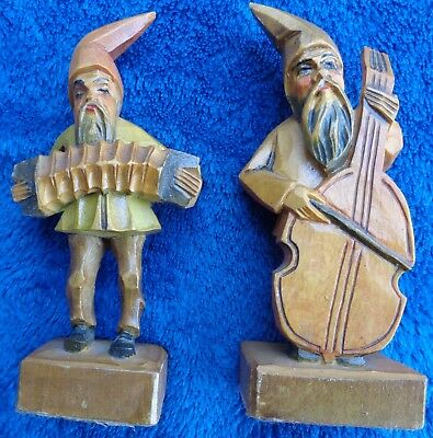 Vintage Black Forest Germany Carved Gnomes  Wooden  Trolls  Christmas Display