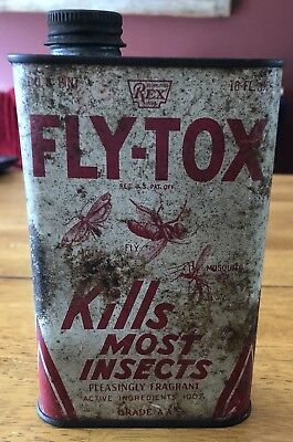 Vintage Fly-Tox Insect Spray Can Insecticide Metal Tin