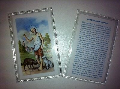 Small Holy Prayer Cards For San Lazaro / St Lazarus Printed In Spanish Set Of 2