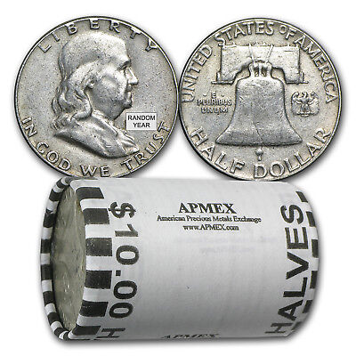 90% Silver Franklin Halves $10 20-Coin Roll Average Circulated, 7.150 oz