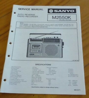 Sanyo Service Manual Portable  Cassette Player recorder M2550K 1977