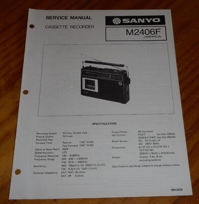 Sanyo Service Manual Portable  Cassette Player recorder M2406F 1977