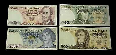 Poland Set of 4 Pcs 50 100 500 & 1,000 Zlotych 1982 - 1988, Circulated