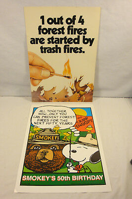 Smokey's 50th Birthday Paper Poster, with Camp Snoopy,1965 & A Cardboard Poster