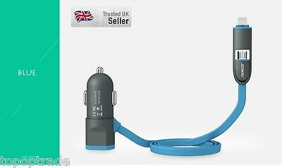 LED light 5v/2.4A Car Charger for Apple and Android with extra USB Slot  Blue