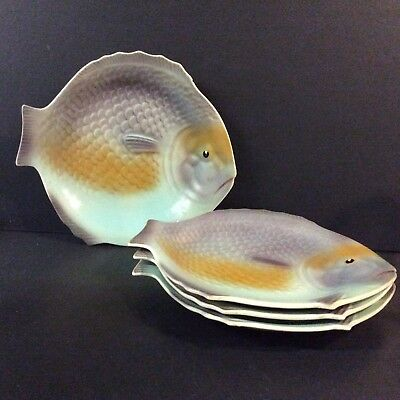 Vintage Fish Shaped Plates By Shorter And Sons Ltd X4