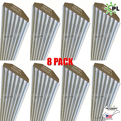 (Qty8) 6 Bulb / Lamp T8 LED High Bay Warehouse, Commercial Light Fixture CLEAR