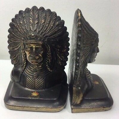Vintage Cast Metal Coppered Bookends - Native American Indians - Cole MFG Co Ltd