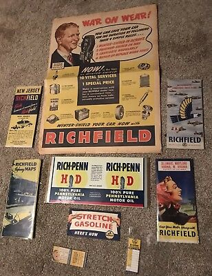 Richfield Richlube Lot Mint Can (4) Road Maps, Ad, Oil Change Tag, Matchbook Gas