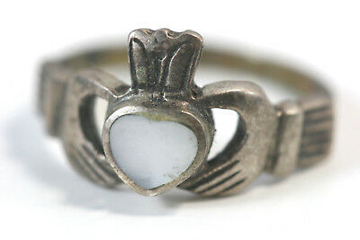 "D336 Claddagh Sterling Ring 2.7g top 3/8""wide mother pearl size 6"