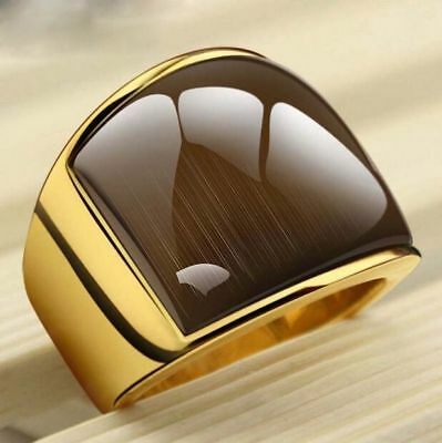 Fashion Stainless Steel And  Yellow  Simple Jewelry Rings With Opal For Men