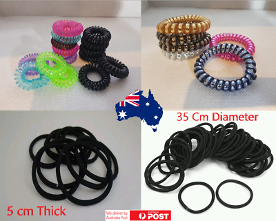 Women Lady Girl Spiral/Bungee/elastic plastic/rubber hair tie telephone line  Au