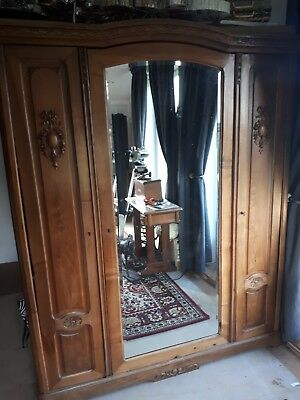 French Carved Oak Antique Marriage Wardrobe Armoire wood furniture mirror